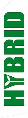Swooper Flag Hybrid - Green Letters with White Background