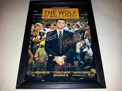 "The Wolf Of Wall Street Signed & Framed 12""x8"" Poster Leonardo Dicaprio Scorsese"