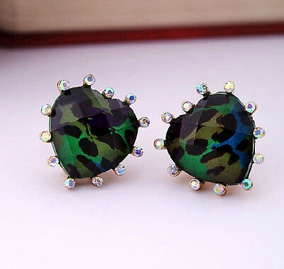 bj252 Betsey Johnson Green Leopard Heart Post Stud Earrings with Tags