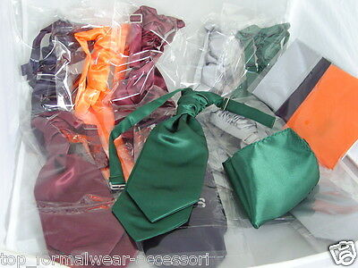 Any MENS & BOYS Double Drop Polyester Ruche-Scrunchie Tie Cravat and Hankie Sets