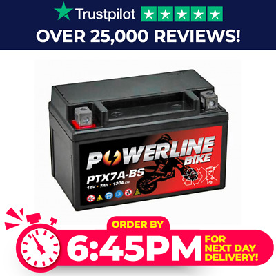 Powerline YTX7A-BS Westco Motorcycle Battery 12V 7Ah (12V7A-BS)