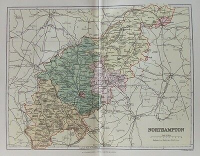 OLD ANTIQUE MAP NORTHAMPTONSHIRE c1880's by WELLER / MACKENZIE PRINTED COLOUR