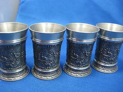 Lot 4 SKS Antique German Embossed and Engraved Solid  Pewter Shooters 3 Scenes