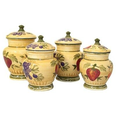 Kitchen Canister Set Hand Painted tuscan Design Ceramic 4 Pc NIB