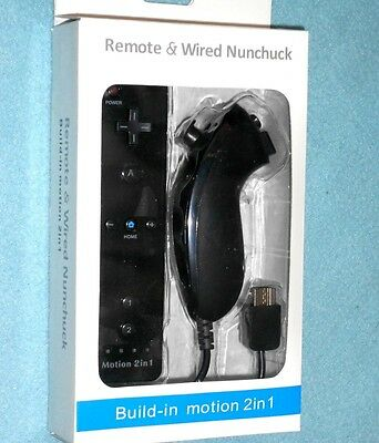 New Remote w/ Built-in Motion Plus & Nunchuk for Nintendo Wii or Wii U - BLACK
