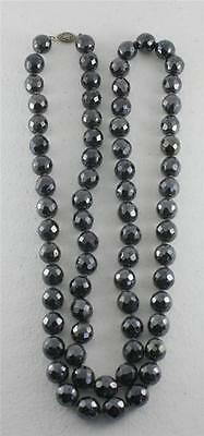 """Vintage Black Faceted Iridescent Glass Bead Sterling Necklace 37"""" Rope"""