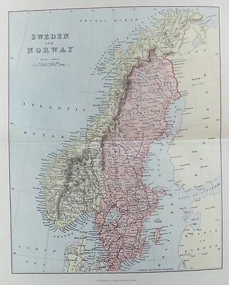 OLD ANTIQUE MAP SWEDEN & DENMARK c1880's by MACKENZIE 19th C PRINTED COLOUR