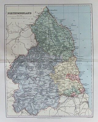 OLD ANTIQUE MAP NORTHUMBERLAND c1880's by WELLER 19th CENTURY PRINTED COLOUR