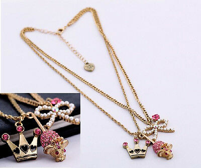 bj299 Betsey Johnson 2 Strand GP Mouse Pearl Bow Crown Charm Necklace w/Tags