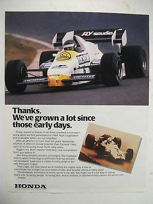 1984 Honda Formula 1 Racecar Fullpage Colour Magazine Advertisement