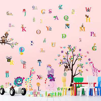 Wall Stickers Mural Decal Paper Art Decoration Happy Animal Number Alphabet