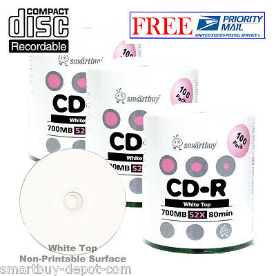 300-Pack SmartBuy Blank CD-R 52X 700MB/80Min White Top Surface Record Media Disc