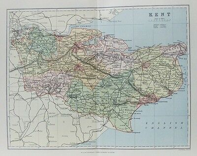OLD ANTIQUE MAP KENT c1880's by F S WELLER 19th CENTURY PRINTED COLOUR