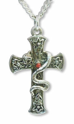 Medieval Renaissance Cross with Snake & Red Crystal Silver Finish Necklace NK-37