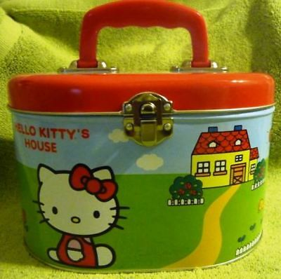Hello Kitty collectible house Oval Sew Box Style purse carry-all Tin Box Co.