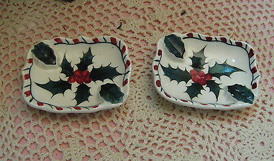 Vintage Pair of Hand Painted Holly & Berries Lefton Personal Ash Trays Japan 030