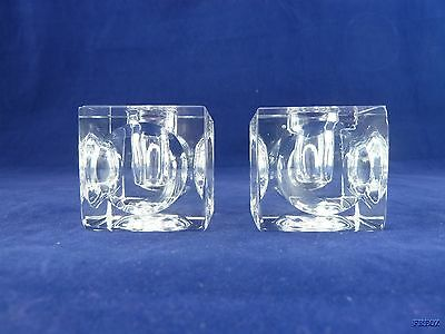 Square Cube Clear Glass Candle Holders