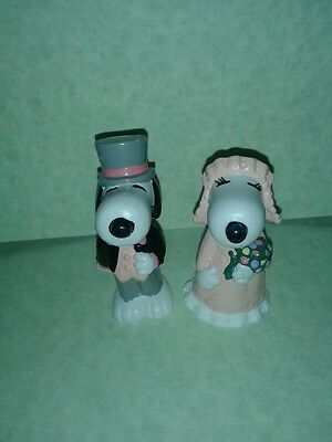 12 Pvc snoopy and belle wedding figurines (6 snoopy and 6 belle)