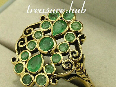 711E - Genuine Solid 9ct Gold NATURAL EMERALD Cluster Ring made in your size