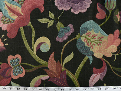 Drapery Upholstery Fabric Linen Floral Green, Purple, Orange, Red, Blue on Black