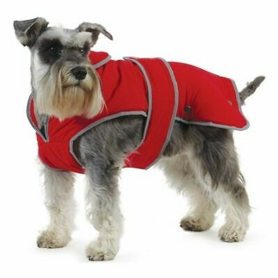 Ancol Muddy Paws Stormguard Poppy Red Waterproof Fleece Lined Dog Coat New