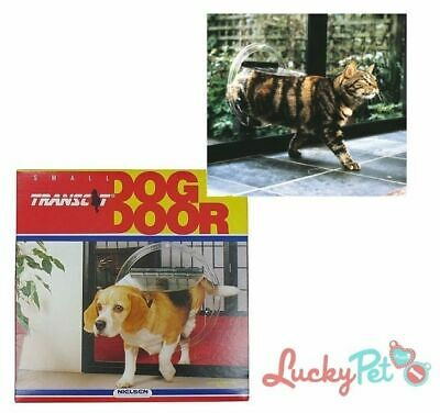 Transcat Dog Door Cat Flap - Glass Fitting 4 Way Locking Clear - Two Sizes