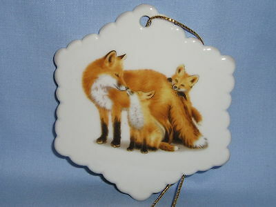 Red Fox Family Porcelain Snowflake Christmas Tree Ornament Decal on Front/Back