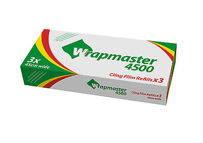 """Wrapmaster 18"""" Cling Film 3 Rolls Refills (45cm x 300m) Catering Baco 4500"""
