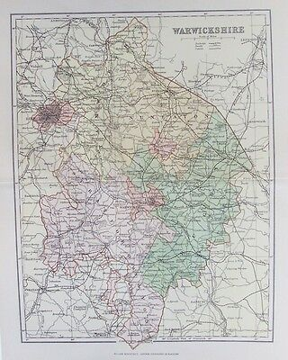 OLD ANTIQUE MAP WARWICKSHIRE c1880's by WELLER 19th CENTURY PRINTED COLOUR