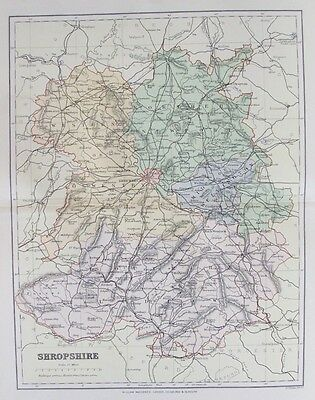 OLD ANTIQUE MAP SHROPSHIRE c1880's by F S WELLER 19th CENTURY PRINTED COLOUR