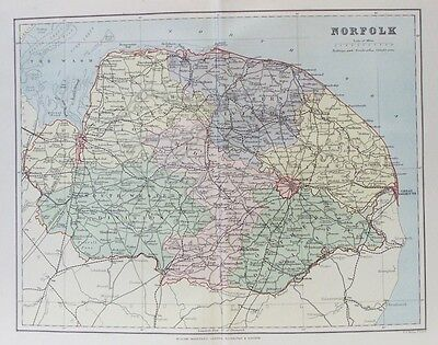 OLD ANTIQUE MAP NORFOLK c1880's by F S WELLER 19th CENTURY PRINTED COLOUR