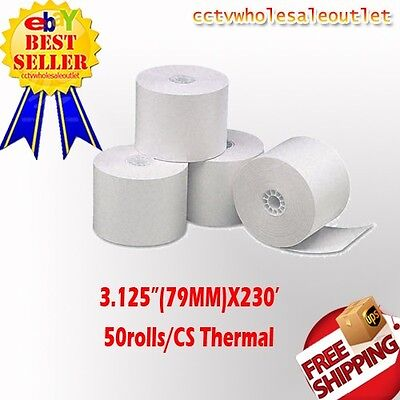 "79mm (3.125"") x 230' THERMAL PAPER - 1 CASE(50 NEW ROLLS) *FREE SHIPPING"