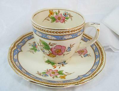 Vintage GRINDLEY ENGLAND CREAMPETAL DEMITASSE CUP and SAUCER Ivory gold edged