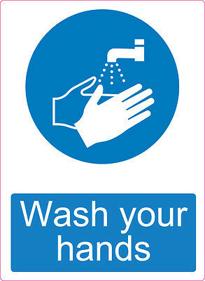 Now wash your hands label sticker sign caution warning hygiene safety 210x150 A5