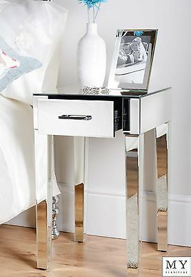 MY-Furniture Mirrored  single drawer Bedside Lamp Table cabinet ZOE range
