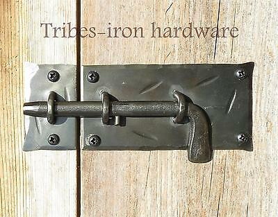Slide Bolt Door Latch Wrought Iron Cabinet Lock Cupboard Hand Forge Antique Gate