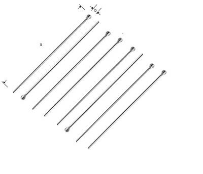 5 x 925 Sterling Silver Headpins ~ Hard 0.65 mm or ~0.80 mm Jewellery Making