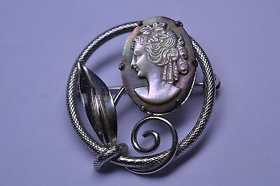 VINTAGE BINDER BROTHERS WHITE GOLD FILLED ABALONE SHELL CAMEO PIN w/ LEAF DETAIL