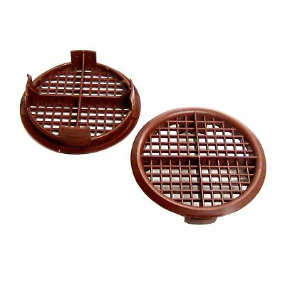 8 x 70mm Brown Plastic Round Soffit Air Vents / UPVC Push Fit Eaves Disk Fascia