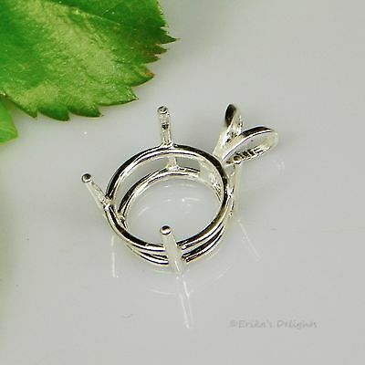 (4mm - 25mm) Solid 925 Sterling Silver ROUND Pre-Notched Pendant Setting 4 Prong