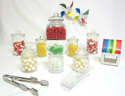 8 SET STARTER Candy Lolly Buffet Apothecary Glass Jars Wedding Free Tongs Scoops