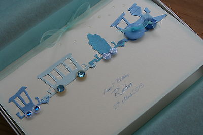 Personalised Grandson/Son Train 1st 2nd 3rd birthday / christening card gift box
