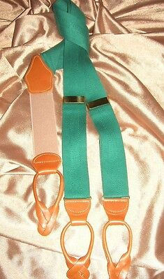 USA VinTage Dooney & Bourke Suspenders Green Russet Tan Saddle Leather England