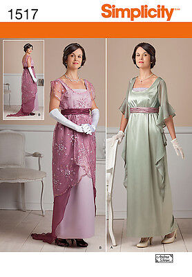 SIMPLICITY 1517 Edwardian Downton Abbey Style Dress Costume Sewing Pattern OOP
