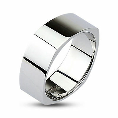 316L Stainless Steel 6mm & 8mm Mirror Polished Square Bang Ring