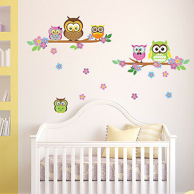 Wall Stickers Mural Decal Paper Art Decoration Cute Owl flower Tree Kids
