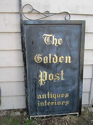 Large Vtg. Dbl.Sided Metal Advertising Sign Framed w/Cast Iron Bracket 5' X 3'