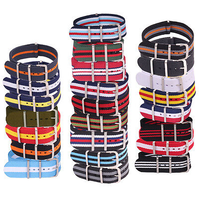 Fits Watches Nato Large Mens Nylon Military Straps Wristwatch Band Buckle 24mm