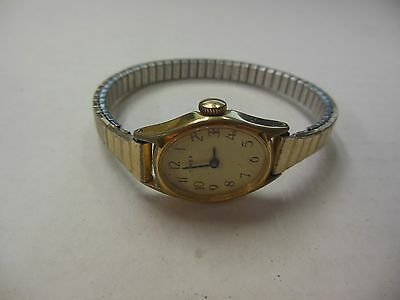 Vintage Timex Womans Gold Colored Base Metal Bezel Watch 012914ame