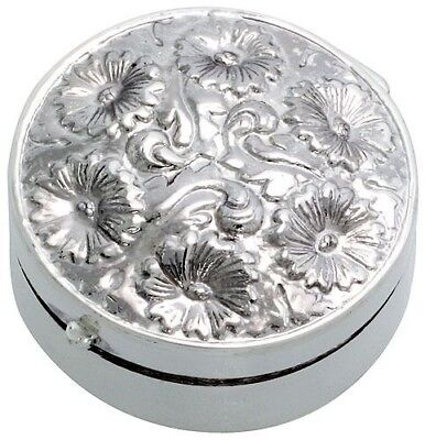.925, Sterling Silver Embossed Finish Pill Box, Round Shape